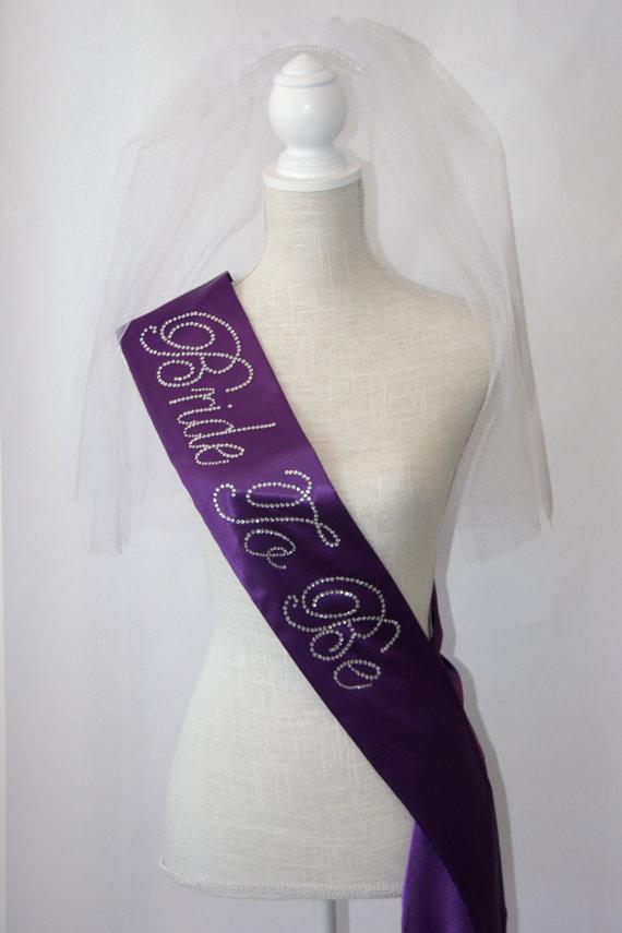Свадьба - Bride To Be- Bachelorette Sash - Royal Purple