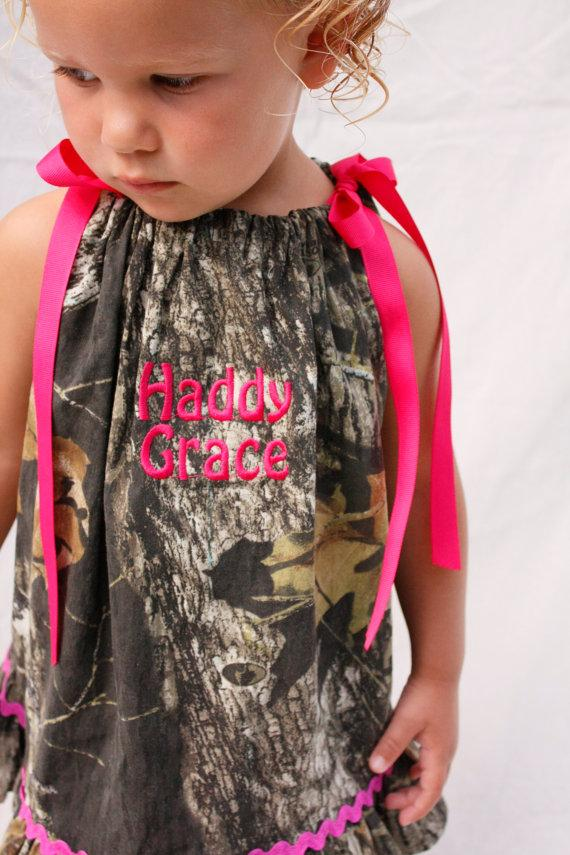 Baby Camo Dress Monogrammed Mossy Oak Hot Pink Pillowcase Personalized Flower