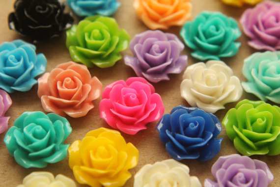 Свадьба - 32 pc. Multi-Colored Crisp Petal Rose Cabochons 18mm - RES-346