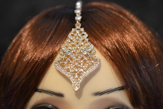Mariage - Gold Crystal Indian Matha Patti Tikka Head Chain Jewelry Bridal wedding Bridal Prom 24