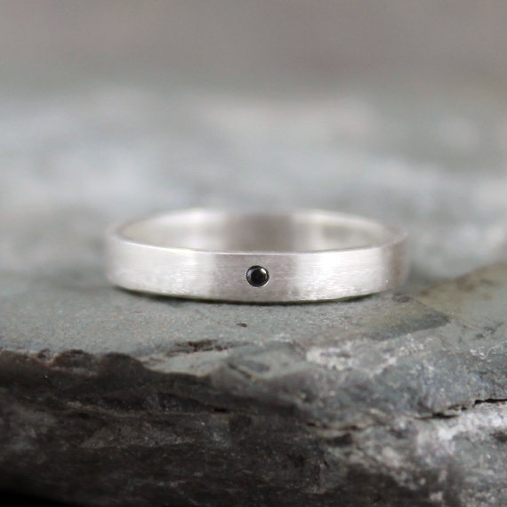 Свадьба - Black Diamond Ring - Sterling Silver Band - Men's or Ladies Jewellery - Wedding Band - Engagement Ring - Matte Finish