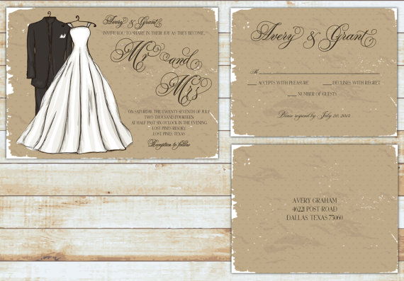Wedding - PRINTABLE Wedding Invitation Suite DIY - Rustic Mr and Mrs ...