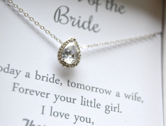 bridesmaid maid personalized g of honor gift bridesmaids wedding jewelry media cubic zirconia necklace