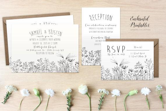 diy printable rustic wedding invitation set country wedding invitation suite with invite rsvp and detail card wildflowers wedding invites - Diy Printable Wedding Invitations