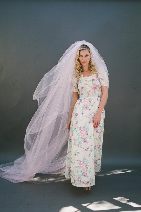 زفاف - Wedding Veil, Bridal Veil, Cathedral Veil, Fingertip Length Veil, Tulle Veil, Pink Veil, Blush Veil, Chapel Length, Ivory Veil, # 0802