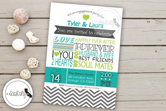 Wedding - Typography Style Engagement Party Invitation, Modern & Simple, Printable Invitation, Chevron Print, Teal Grey, Digital or Printed Invitation