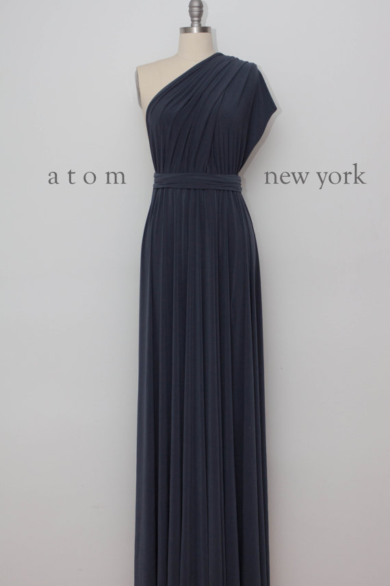 Hochzeit - Charcoal Gray Floor Length Ball Gown Long Maxi Infinity Dress Convertible Formal Multiway Wrap Dress Bridesmaid Dress Evening Dress