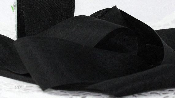 "زفاف - Black Silk Ribbon 1.25"" wide by the yard Weddings, Bouquet Wrap, Sashes, Gift Wrap, Scrapbook, Costumes"