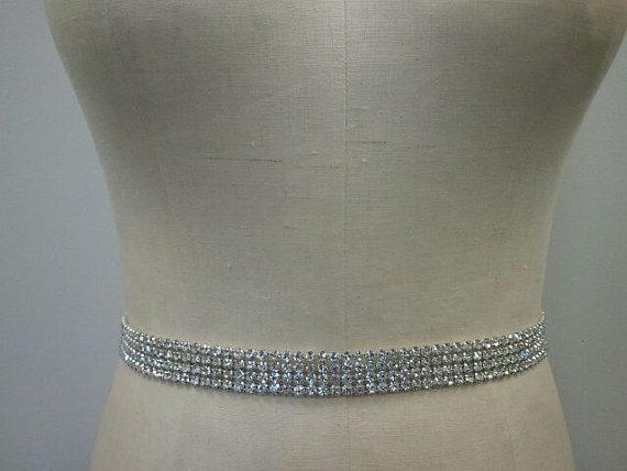 Wedding - Bridal Belt, Wedding belt, Bridesmaid - Crystal Rhinestone Belt Style B1015 - Made to Order