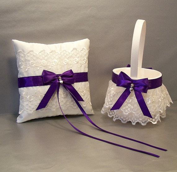 Wedding - Regal Purple, Wedding Bridal Flower Girl Basket and Ring Bearer Pillow Set on Ivory or White ~ Double Loop Bow & Hearts Charm ~ Allison Line