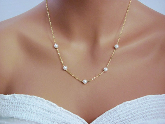 Свадьба - Delicate Gold Handwrapped Pearl Necklace- simple, elegant, bridal jewelry, bridesmaids gifts, also available in silver.