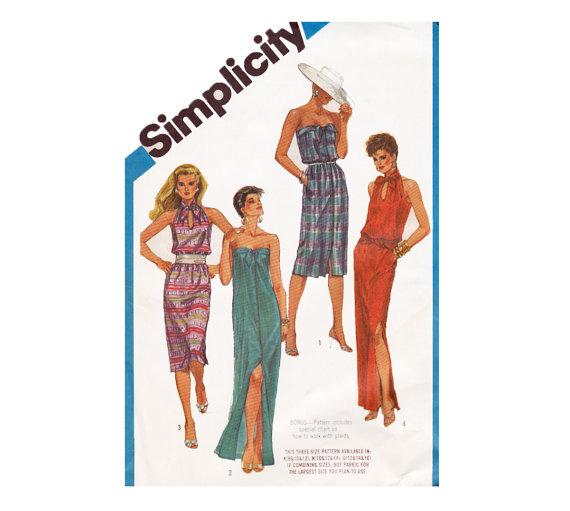 Mariage - Glamorous Simplicity 6431 Uncut Sewing Pattern Sizes 12 14 16 Bust 34 36 38 Dress sash Keyhole cut away tie collar Strapless high fashion S