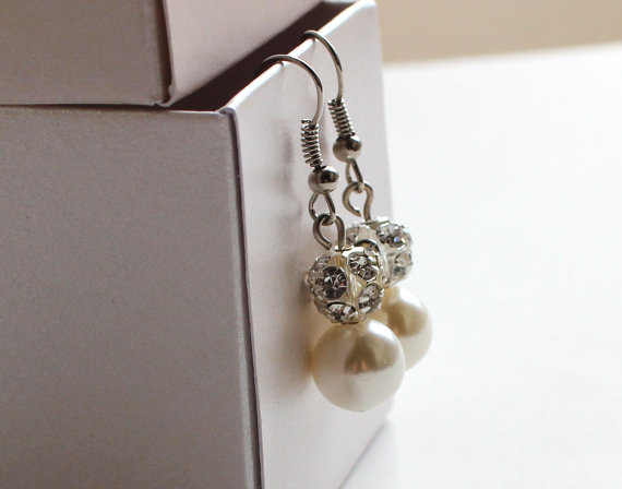 Свадьба - Pearl earrings with rhinestones bridal jewelry bridesmaid earrings wedding valentine gift for her ivory or white