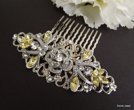 زفاف - Bridal Rhinestone Hair Comb,Wedding Rhinestone Hair Comb,Rose Rhinestone Hair Comb,Swarovski Crystals,Yellow Wedding Jewelry,Yellow,ROSELANI