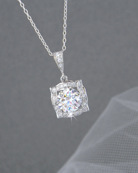 Nozze - Square cut Bridal Necklace Bridal Wedding Rose Gold Crystal Drop Bridal necklace Swarovski Bridesmaids jewelry, Adrienne Crystal Pendant