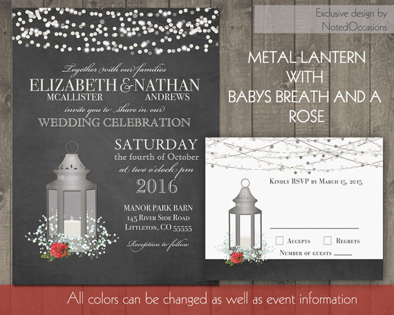 Hochzeit - Silver Lantern Wedding Invitations Set Rustic Rose Wedding Invitations Baby's Breath and Red Roses on Chalkboard Lights - Digital Printable