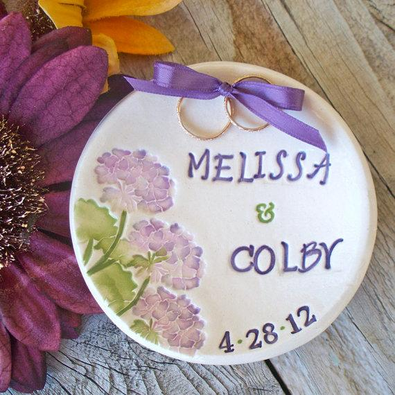 Wedding - Hydrangea Ring Bearer Bowl - Hydrangea Happiness - Ring Pillow - Pillow Alternative - Ring Dish - Wedding Ring Holder - Ring Warming  - Bowl