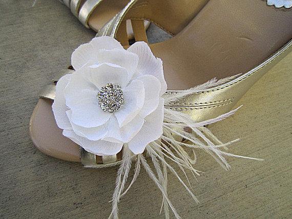 Wedding - Set of 2 Bridal Shoe Clips Light Ivory - PHEOBE - Rhinestone Ostrich Feathers
