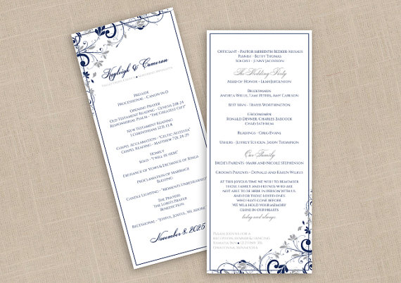 Свадьба - DiY Wedding Program - DOWNLOAD Instantly - EDITABLE TEXT - Chic Bouquet (Navy Blue & Silver) - Tea-Length (4 x 9.25)  Microsoft® Word Format