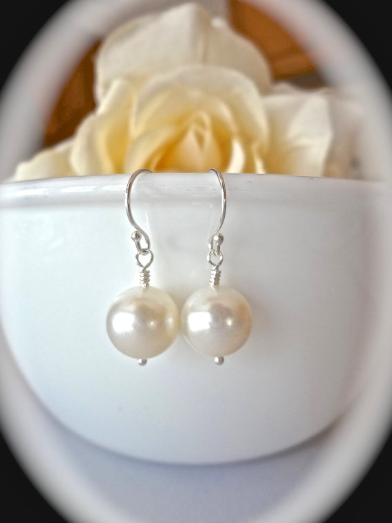 Mariage - AA+ Freshwater white pearl drop earrings ~ 10mm ~ Round ~ Sterling silver French wires ~ Bridal jewelry ~ Classic ~ Makes a wonderful gift