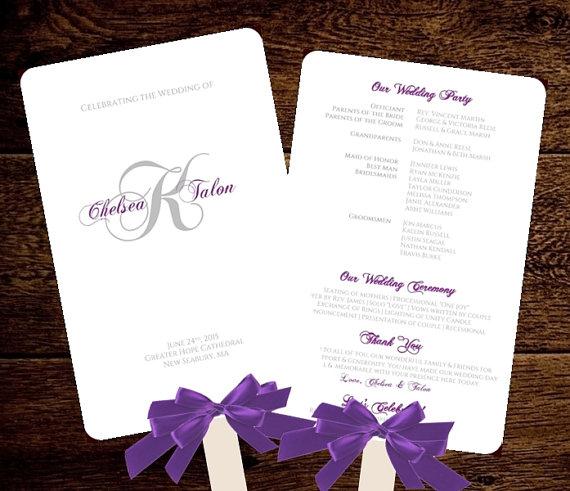 Monogram Wedding FAN Program Fan Wedding Program Romantic Monogram ...