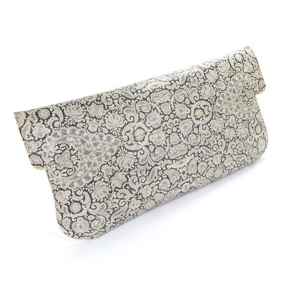 Свадьба - Leather Clutch Bag, Wedding clutch, Bridesmaid clutch, Evening Bag - White Lace (Exclusive range)
