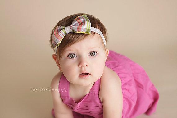زفاف - Plaid Bow Headband, Stripes,  Fabric, Cotton, Wedding headbands,Newborn, toddler, flower girl, birthday girl