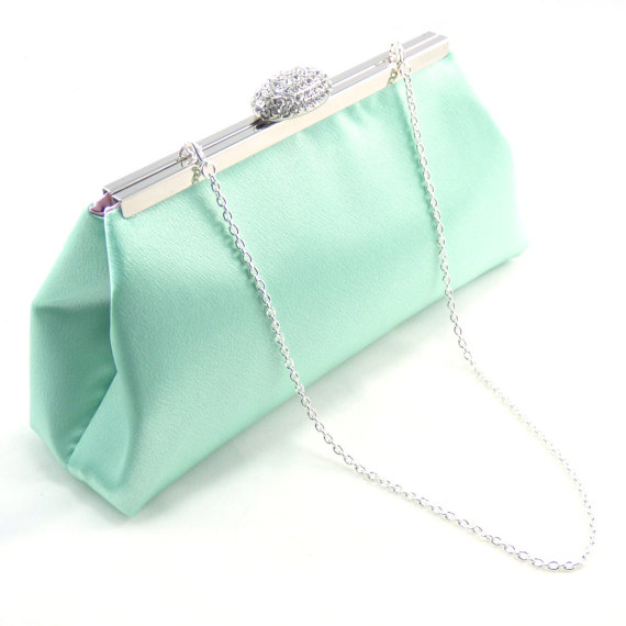 Mariage - Mint Green and Light Pink Bridesmaid Clutch, Bridesmaid Gift, Custom Bridal Clutch, Wedding Clutch, Bridal Shower Gift, Mother of the Bride