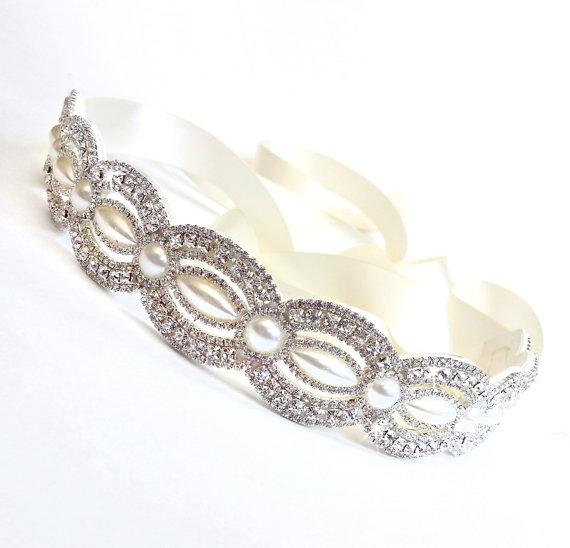 Mariage - Marquise Pearl and Rhinestone Bridal Belt Sash - Custom Satin Ribbon - Rhinestone Pearl Appliqué - Wedding Dress Belt - Extra Long
