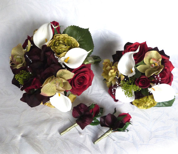 Hochzeit - Silk wedding bouquet shades of burgundy roses green orchids plum hydrangea bridal bouquet set