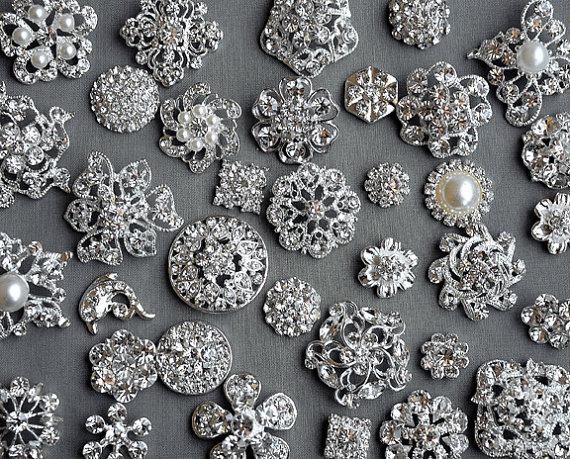 Mariage - SALE 100 Assorted Rhinestone Button Brooch Embellishment Pearl Crystal Wedding Brooch Bouquet Invitation Cake Hair Comb BT575