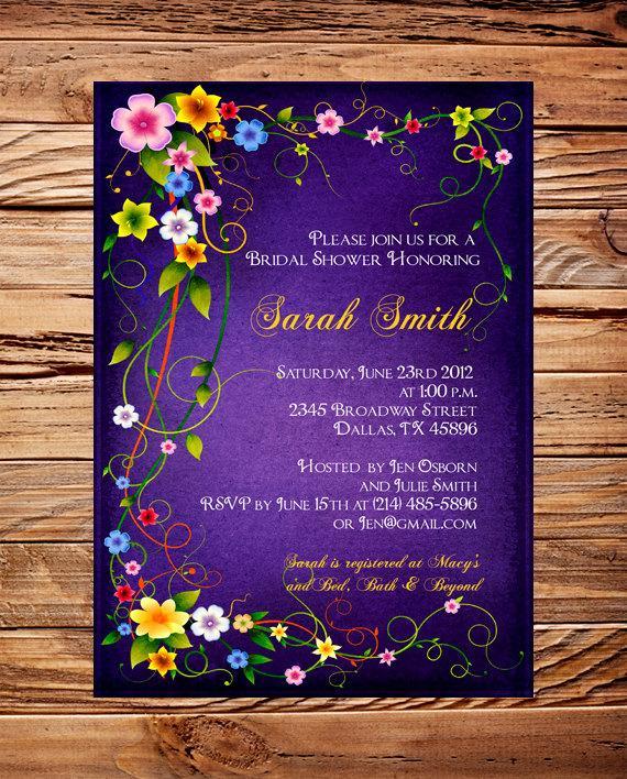 Mariage - Roses Bridal shower Invitation,Purple, Roses, Pink, Wedding Shower Invitation,Bridal Shower Invite, Roses, digital, printable - Item 1171