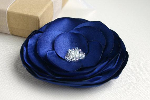زفاف - Blue Flower Hair Accessory - Navy Blue Flower Hair Clip - Wedding Hair Piece - Blue Bridal Flower