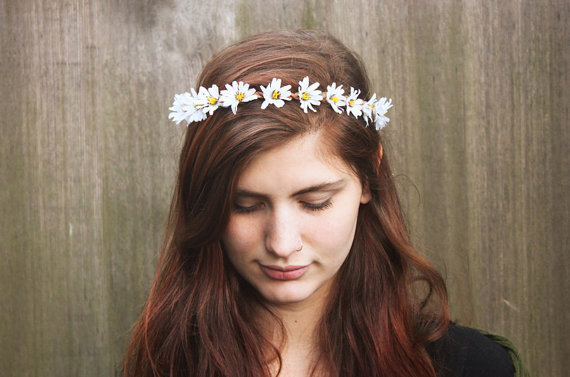 زفاف - Daisy Headband - 4th of July, July 4th, EDC, Daisy Flower Crown, Daisy Chain, Hippie Headband, Daisy Crown, White Daisy Flower Crown, Hippie