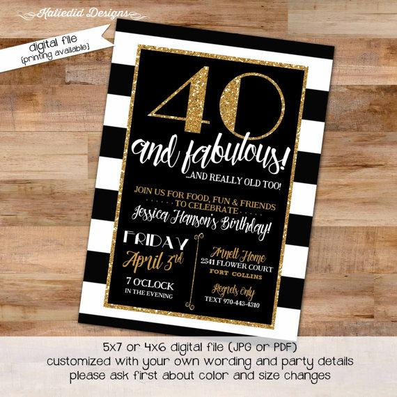 40th birthday invitation black and white stripe gold retirement 40th birthday invitation black and white stripe gold retirement surprise party graduation announcement engagement baptism wedding item 239 filmwisefo