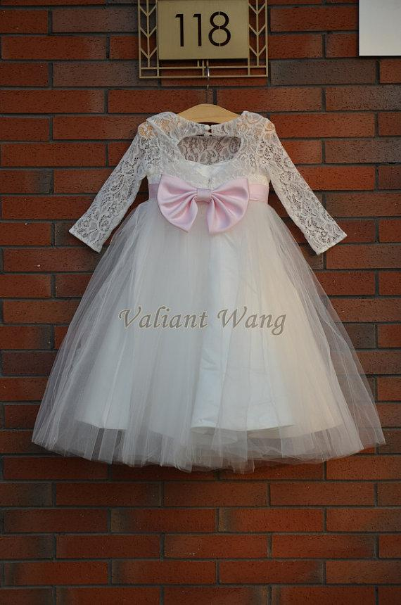 ivory long lace sleeves wedding flower girl dress with sash