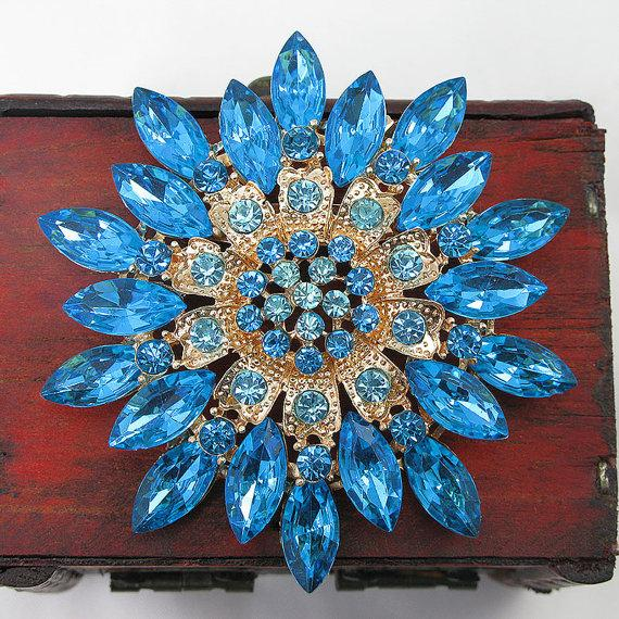 Mariage - Large Blue Brooch Crystal Rhinestone Brooch Pin Wedding Brooch Wedding Favors Wedding Bouquet Brooch Bridal Bouquet Wedding Dress Sash Pin