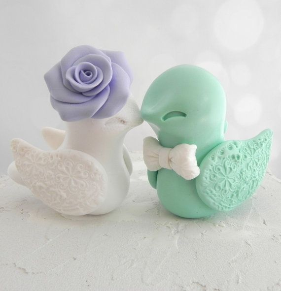 Wedding - Love Bird Wedding Cake Topper, Lilac, White And Mint Green, Bride And Groom Keepsake, Fully Custom