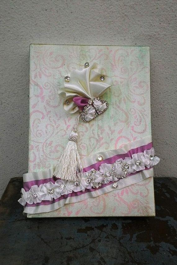 Wedding - Wedding, Paper Goods, Wedding Accessories, İvory lace guest book,Wintage guest book , Guest book and ribbon