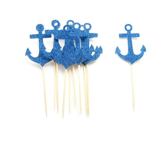 Wedding - 10 Navy Glitter Anchor Cupcake Toppers - Nautical Cupcake Topper, Nautical Bachelorette Party, Nautical Wedding Decor, Anchor Cupcake Topper