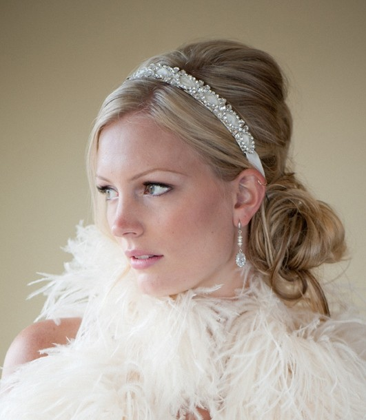 Bridal Headband Bridal Ribbon Headband Wedding Headpiece