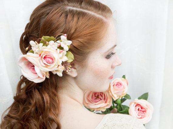 Wedding - bridal hair accessory, coral pink and gold, blush pink hair clip, wedding hairpiece -SOPHIA- silk flower headpiece, peach pink accessories