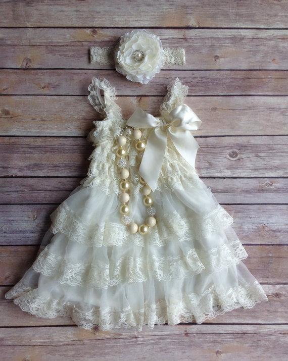 Wedding - Cream Ivory Lace Toddler Baby Dress, Flower Girl Dress, Vintage Toddler Dress, Rustic Flower Girl Dress, Beach Wedding Dress
