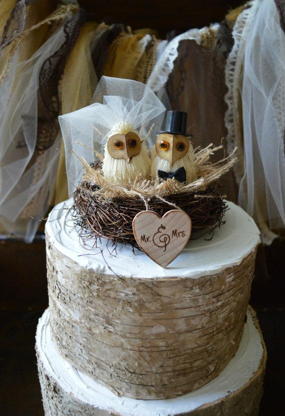 Owls Wedding Cake Topper-Barn Owls Cake Topper-Rustic Cake Topper ...