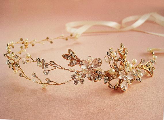 Nature Inspired Hair Vine, Rose Gold Or Silver Bridal Headband, Art ...