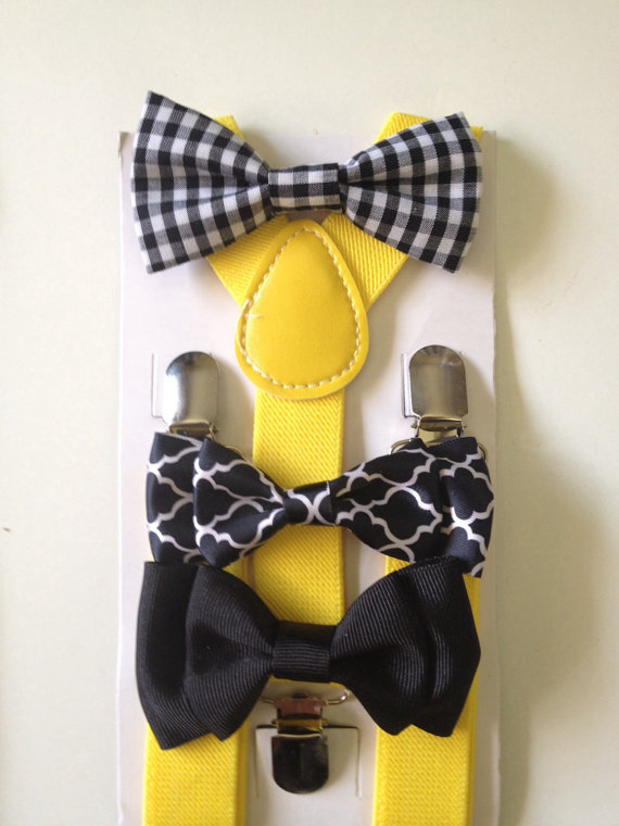زفاف - Suspender Bowtie set Black Baby bow tie Yellow Suspenders White Boys Bowties Tan Toddler Necktie Gray Mens bowtie Wedding Ring Bearer Outfit