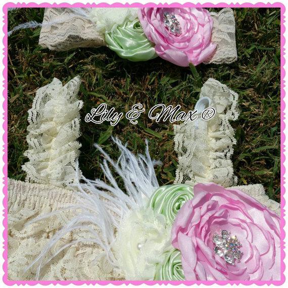 زفاف - Lace Rustic flower Girl dress, pink mint ivory Posh Dress Set, Vintage lace chiffon Dress,  Baby Lace Dress, Baptism dress, Country Girl