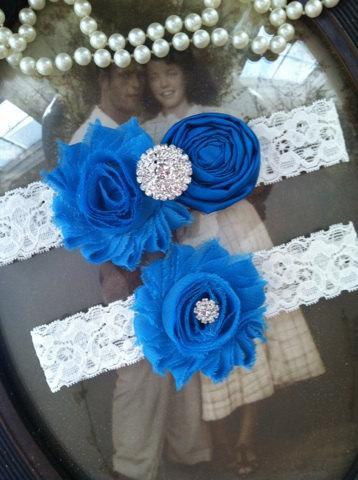 زفاف - SALE-Wedding Garter - Peacock Blue Ivory Lace Garter Set - Bridal Garter - Vintage Garter - Prom Garter - Toss Garter - Rhinestone - Pearl