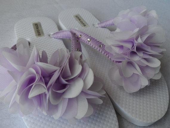 66b7ee50a346 Lavender   White Bridal Flip Flops   Chiffon Leaf Flip Flops   Macrame Wedding  Flip Flops   Bridesmaids Shoes   Bridal Sandals.