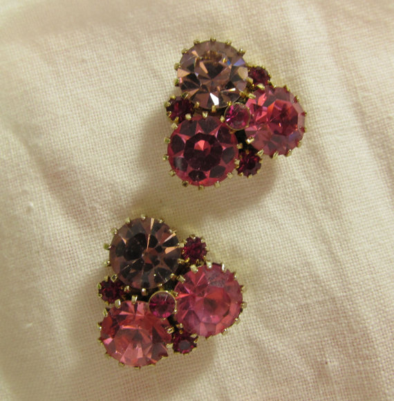 Mariage - Signed Weiss PIERCED Pink Purple Rhinestone Earrings, Vintage Weiss Rhinestone Earrings, Sterling Posts, Wedding Jewelry, Bridal Earrings
